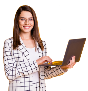 Smiling girl holding laptop